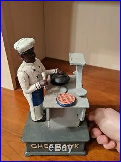 Rare! Hawthorne Direct Chef Bank & Stove Mechanical Cast Iron Coin Money Bank