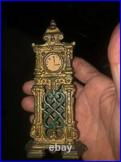 Rare Hubley Cast iron small grandfather clock still bank 20s