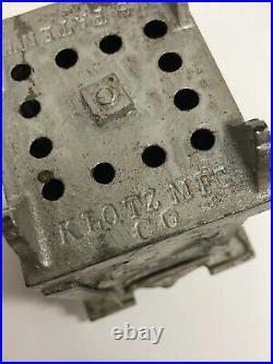 Rare Vintage Antique Klotz Cast Iron Still Bank Safe Columns & Swing Door No Key