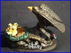 Reproduced Jon Wright Book of Knowledge Mechanical Cast Iron Eagle Eaglets Bank