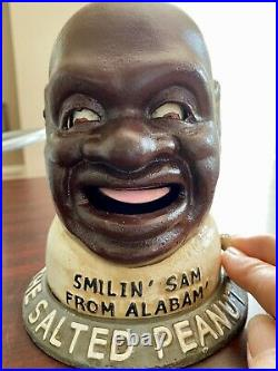 SMILIN' SAM FROM ALABAM', THE SALTED PEANUT MAN Cast Iron Mechanical Bank