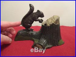 SQUIRREL & TREE STUMP Mechanical Bank Cast Iron Antique