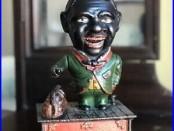STUMP SPEAKER BANK Original Antique Cast Iron Mechanical Bank Circa 1886