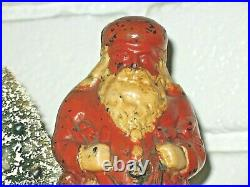 Santa Claus (removable wire tree) Antique Cast Iron Bank Ives 7 1/4 1890s US