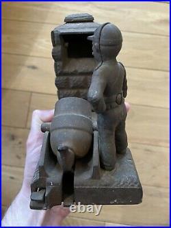Shephard Hardware cast Iron Mechanical Artillery Bank Pat May 31 1892 Money Bank