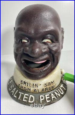 Smiling Sam From Alabama The Salted Peanut Man Cast Iron Mechanical Bank