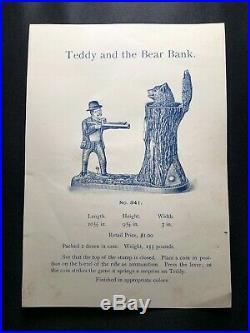 Theodore Roosevelt C. 1907 Cast Iron Mechanical Teddy And The Bear Bank J. & E