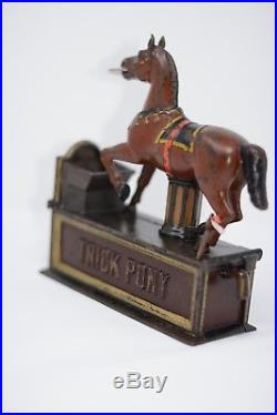 Trick Pony Cast Iron Mechanical Bank With Coin Trap Door And Key Circa 1885