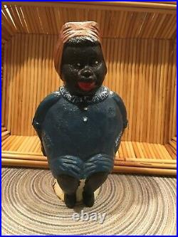 VINTAGE BLACK AMERICAN LADY CAST IRON BANK COLLECTIBLEDRESSED IN BLUE WithTAN WRAP