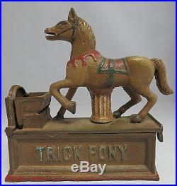 VINTAGE MECHANICAL CAST IRON Trick Pony WORKING BANK