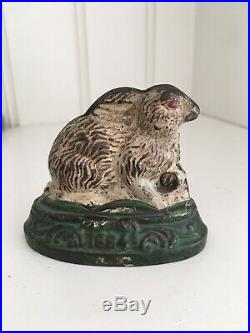 Very Rare Rabbit On Base 1884 Cast Iron Still Bank Kyser & Rex