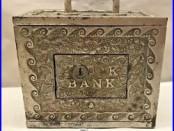 Vintage 1905 Stevens KODAK Box Camera Cast IRON Coin Safe Slot Saving Sill Bank