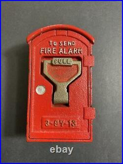 Vintage 1950's-60's FIRE ALARM BOX CAST IRON BANK MADE IN JAPAN