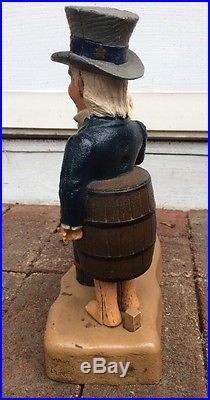 Vintage 1975 JOHN WRIGHT Uncle Sam and Arab Oil Barrel Mechanical Bank Cast Iron