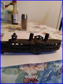 Vintage A C Williams Steam Boat Cast Iron Bank Paddle Wheel