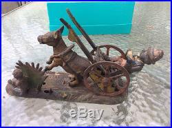 Vintage Americana Cast Iron Mechanical Bank Man, cart, donkey and boy