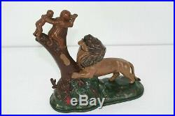 Vintage Antique Cast Iron Old Keyser Rex Lion and Two Monkeys Bank Reproduction