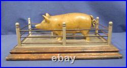 Vintage Antique Cast Iron Still Bank Brass Prototype Pig in its Pen Rare c. 1920