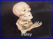 Vintage Antique Style Cast Iron Painted Skeleton Toy Mechanical Coin Bank