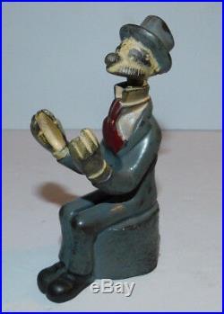 Vintage Arcade Cast Iron Sitting Andy Gump Bank Freeport IL