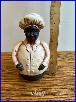 Vintage Black Americana Cast Iron Jolly Chef Still Bank