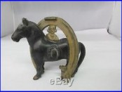 Vintage Cast Iron Bank Horse Buster Brown Bank Horseshoe 340-G