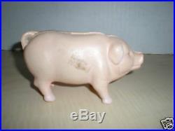 Vintage Cast Iron Bank Pink Standing Pig