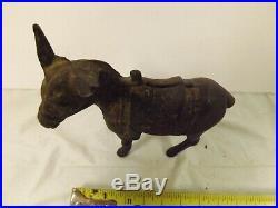 Vintage Cast Iron Donkey Burro Mule Animal Still Piggy Bank