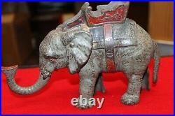 Vintage Cast Iron Elephant Mechanical Bank Works Fine Original Paint