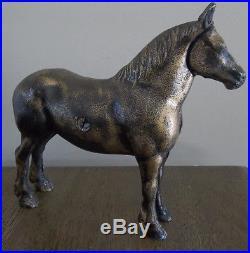 Vintage Cast Iron LARGE Horse Still Penny Bank Antique Bank 7H Rare Gold Color