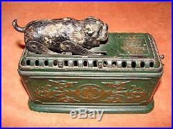 Vintage Cast Iron MECHANICAL BANK Snapping Bulldog Antique Bank Clockworks