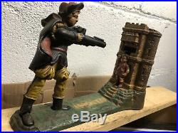 Vintage Cast Iron Mechanical Bank William Tell & Apple Works