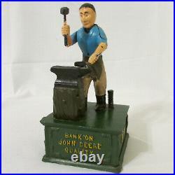 Vintage Cast Iron Metal John Deere Blacksmith with Anvil Mechanical Bank