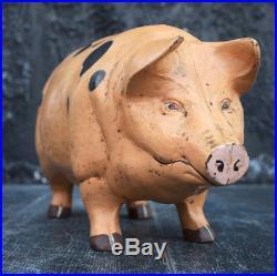 Vintage Cast Iron Oversized Butchers Shop Piggy Bank Circa 1960