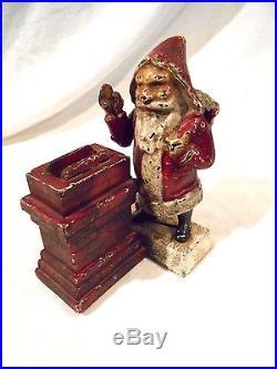 Cast Iron Paint >> Vintage Cast Iron Santa Claus Mechanical Bank-Shepard's Hardware-Original paint | Cast Iron Bank