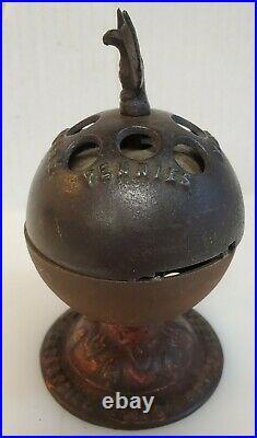 Vintage Cast Iron Still Bank Original World Globe Collectible Bank