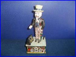 Vintage Cast Iron UNCLE SAM MECHANICAL COIN BANK Rare