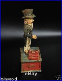 Vintage Collectible Cast Iron Coin Bank Lot (Uncle Sam Indian And Bear, Dentist)