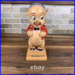 Vintage Hubley Warner Brothers Porky Pig Coin Bank Cast Iron