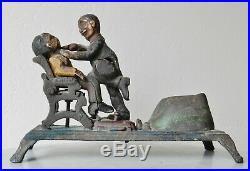 Vintage J. E. Stevens Dentist Pulling Tooth Mechanical Cast Iron Moving Bank
