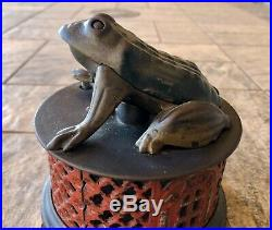 Vintage J & E Stevens Frog on Lattice Base Cast Iron Mechanical Bank Circa 1872