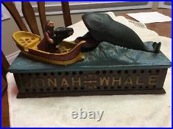 Vintage Jonah & The Whale Cast Iron Mechanical Bank USA Book Of Knowledge