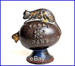 Vintage Kyser & Rex c. 1880 Cast Iron Tabby Bank Still Bank