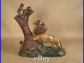 Vintage Mechanical Bank Lion & Monkeys Figural Cast Iron