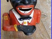 Vintage Old Jolly Cast Iron Money Box Piggy Bank Black Man Americana Pull Lever