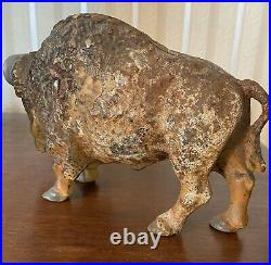 Vintage Painted Cast Iron Bison Buffalo 8 Still Coin Bank With Red Eyes