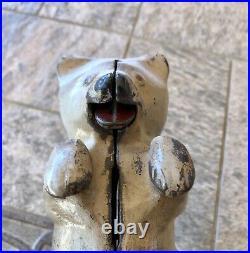 Vintage Rare Cast Iron Surly Bruin Standing Bear Still Coin Bank