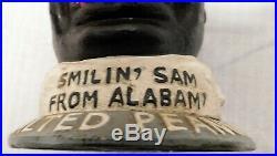 Vintage SMILIN' SAM FROM ALABAM' SALTED PEANUT MAN Cast Iron Coin Bank