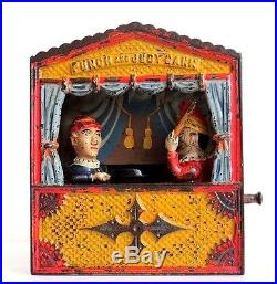 Vintage Shepard Hardware Co. Punch And Judy Cast Iron Mechanical Bank