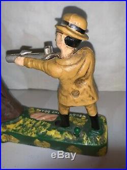 Vintage Teddy & The Bear Cast Iron Mechanical Bank President Roosevelt